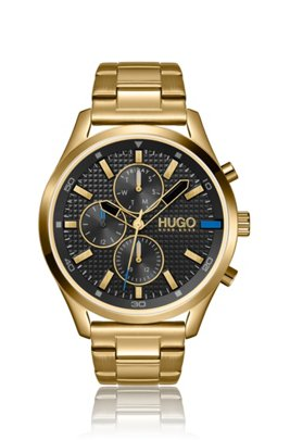 Yellow-gold-effect watch with textured dial, Assorted-Pre-Pack