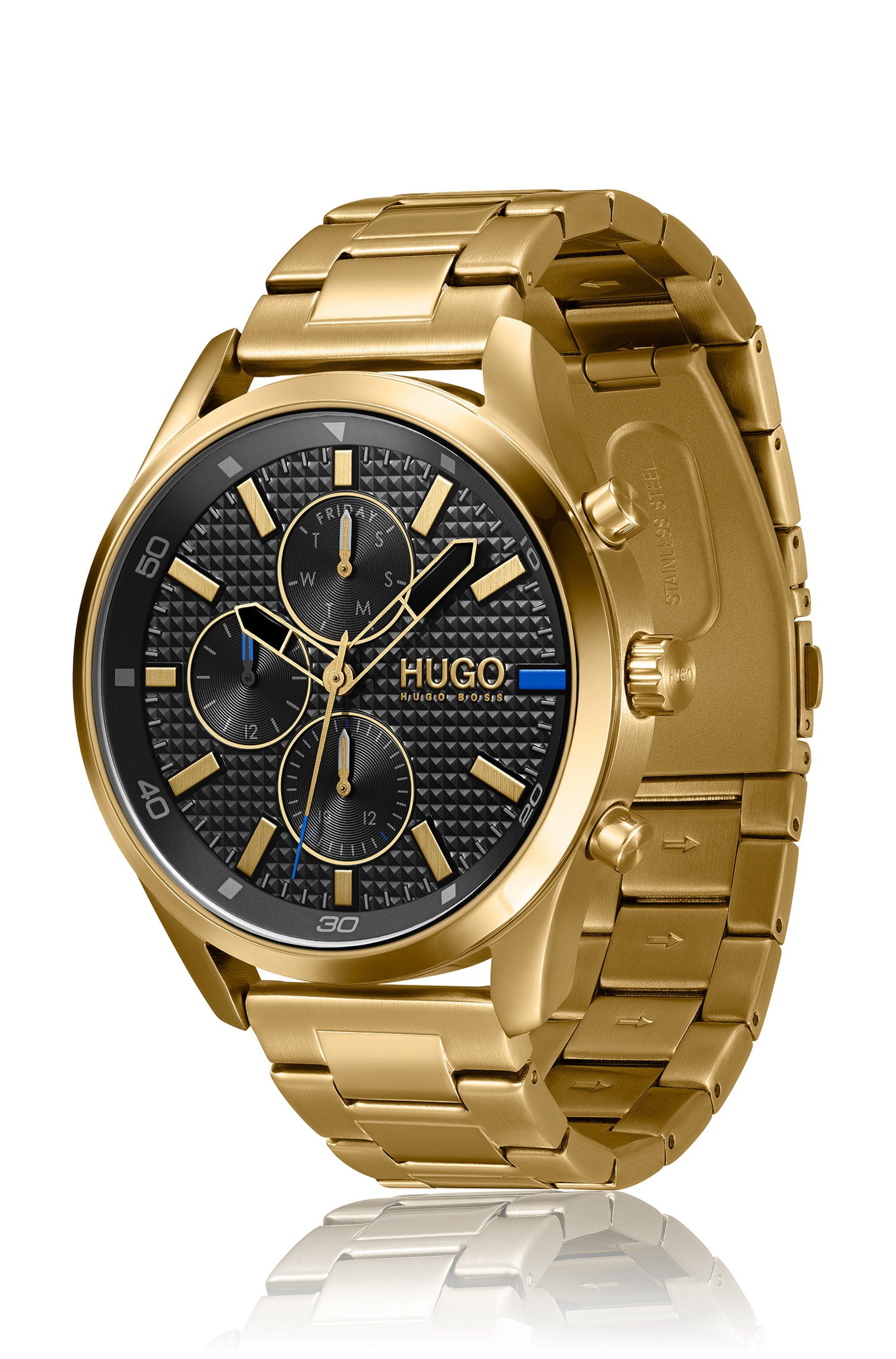 Yellow-gold-effect watch with textured dial