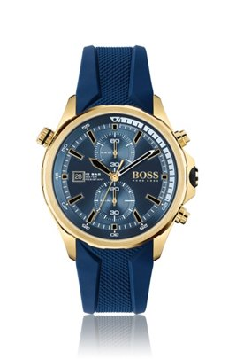 Yellow-gold-effect chronograph watch with textured silicone strap, Assorted-Pre-Pack