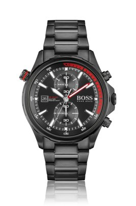 Black-plated chronograph watch with rotating reflector ring, Assorted-Pre-Pack