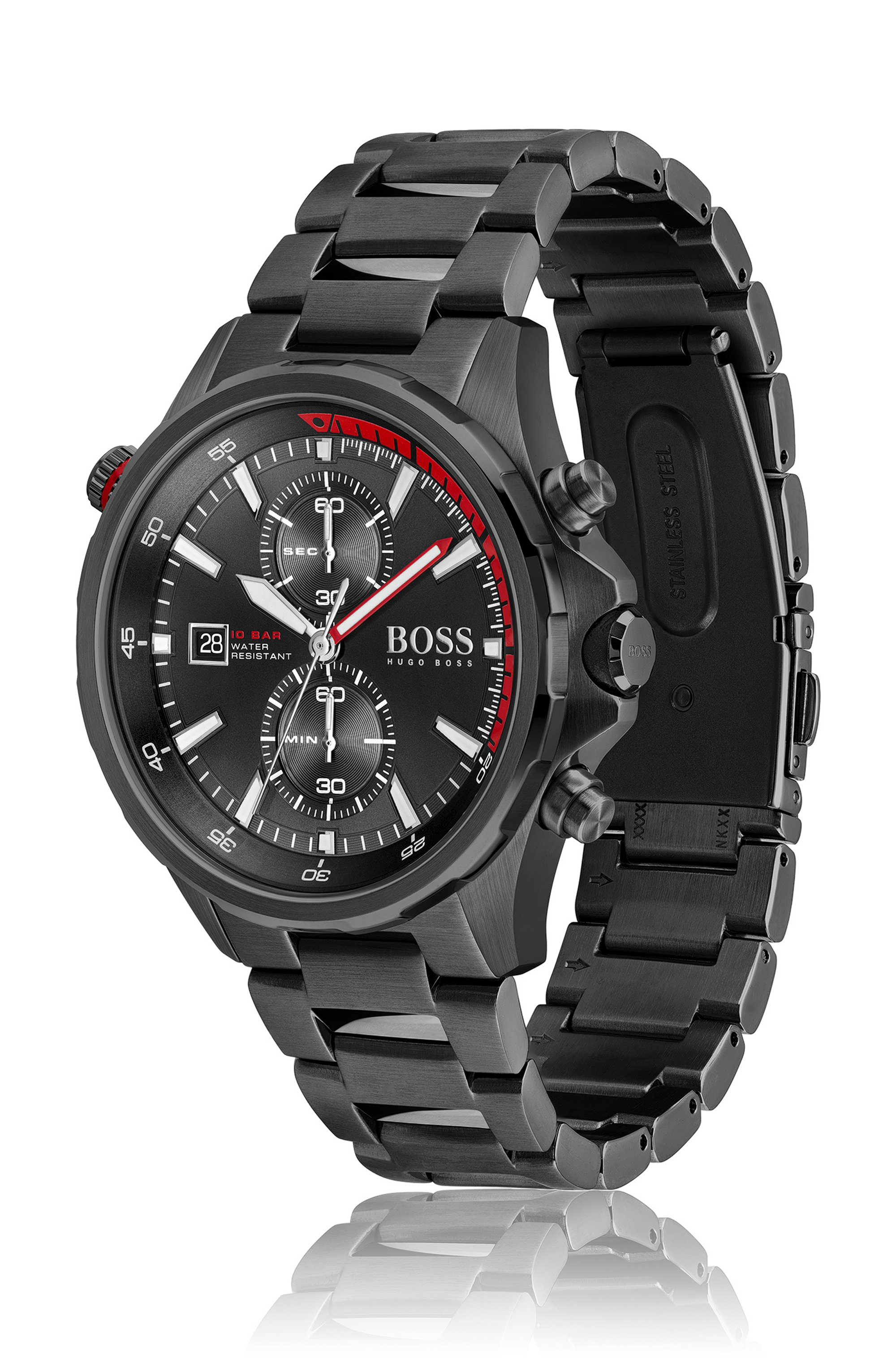Black-plated chronograph watch with rotating reflector ring