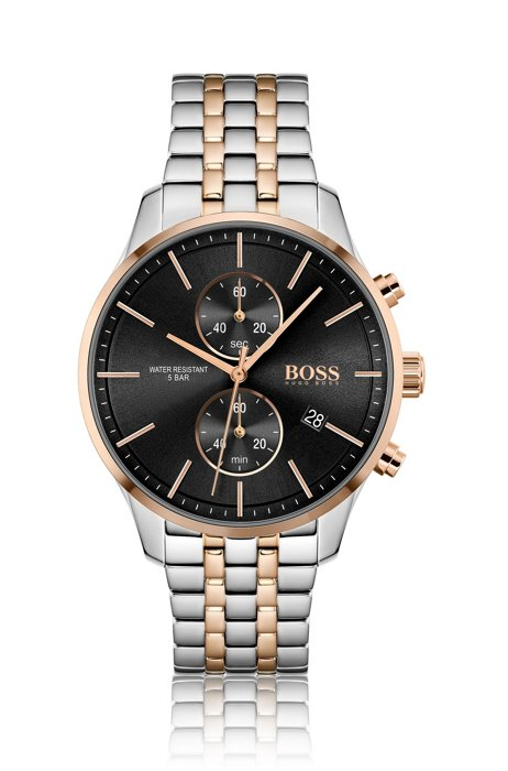 Two-tone chronograph watch with link bracelet, Assorted-Pre-Pack