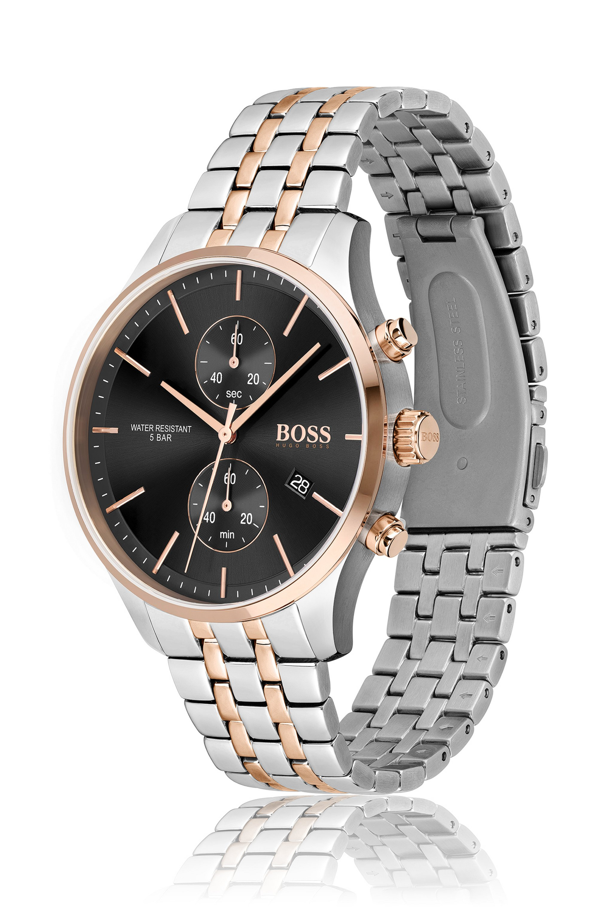 Two-tone chronograph watch with link bracelet