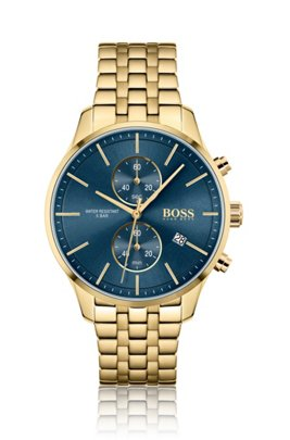Yellow-gold-effect chronograph watch with link bracelet, Assorted-Pre-Pack