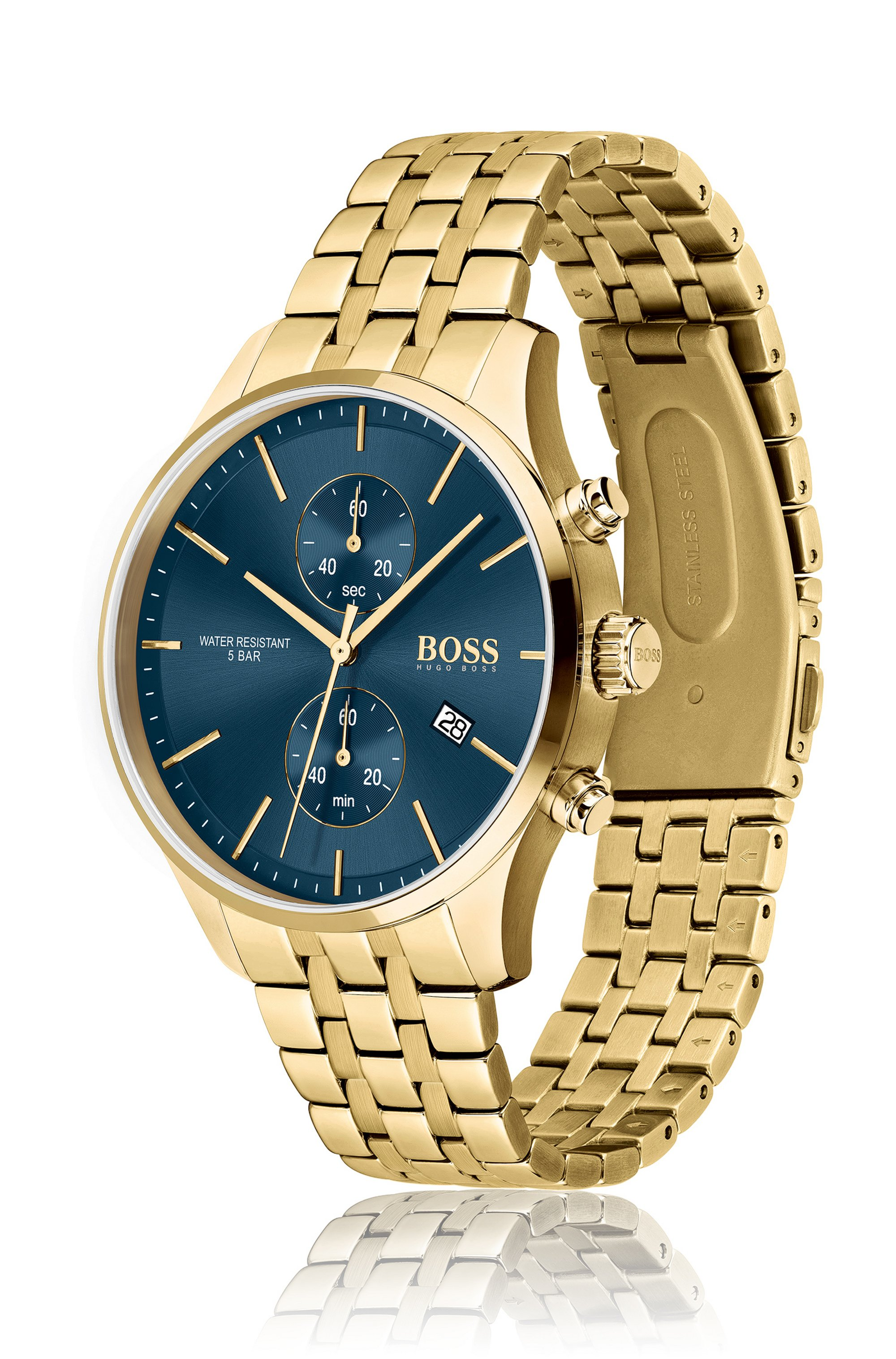 Yellow-gold-effect chronograph watch with link bracelet