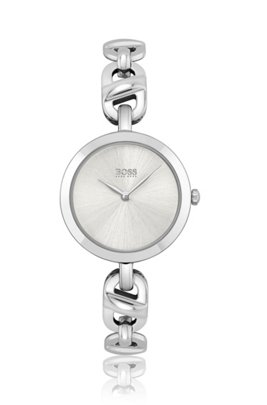 Stainless-steel watch with chain-link bracelet, Assorted-Pre-Pack