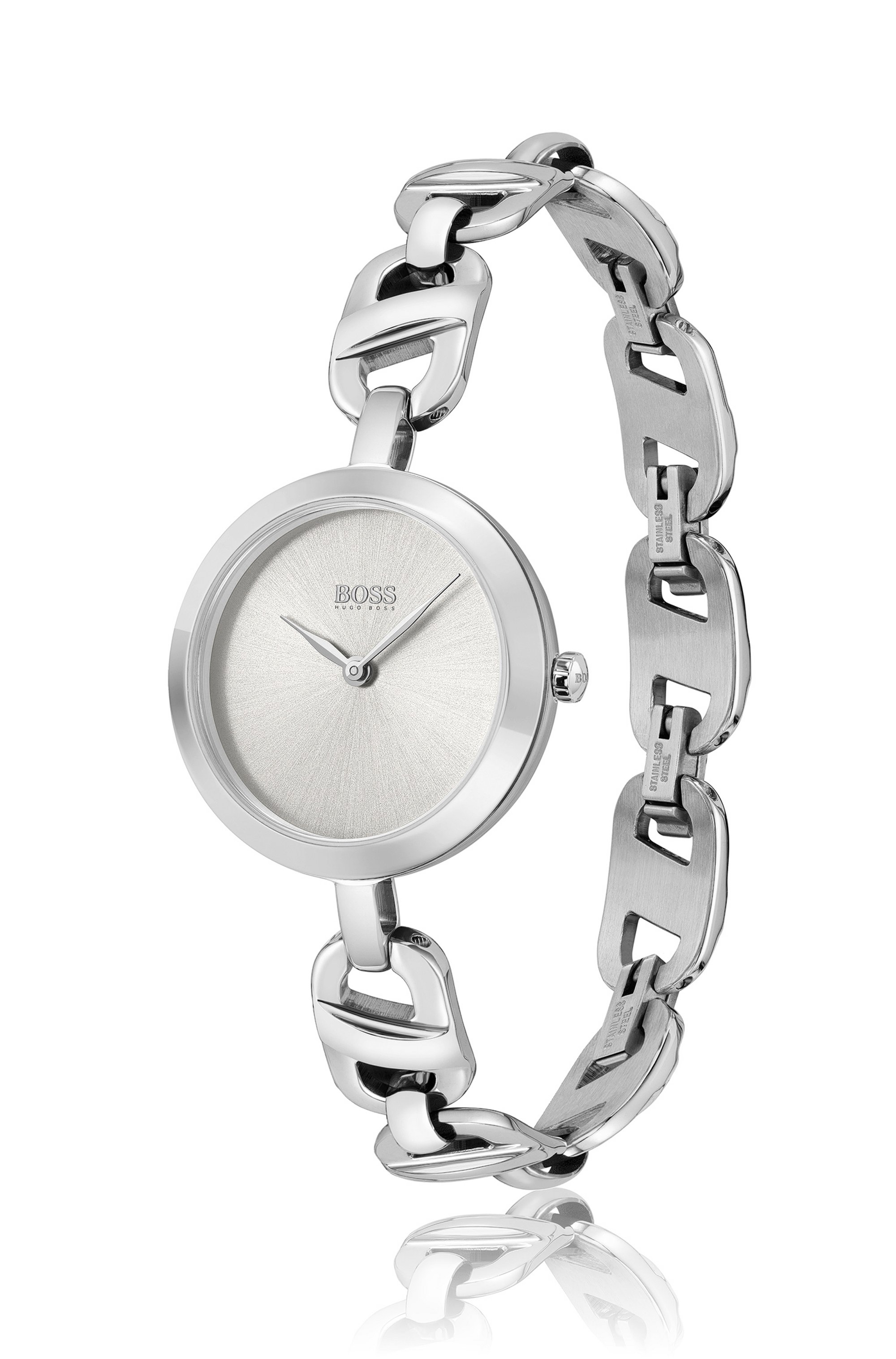 Stainless-steel watch with chain-link bracelet
