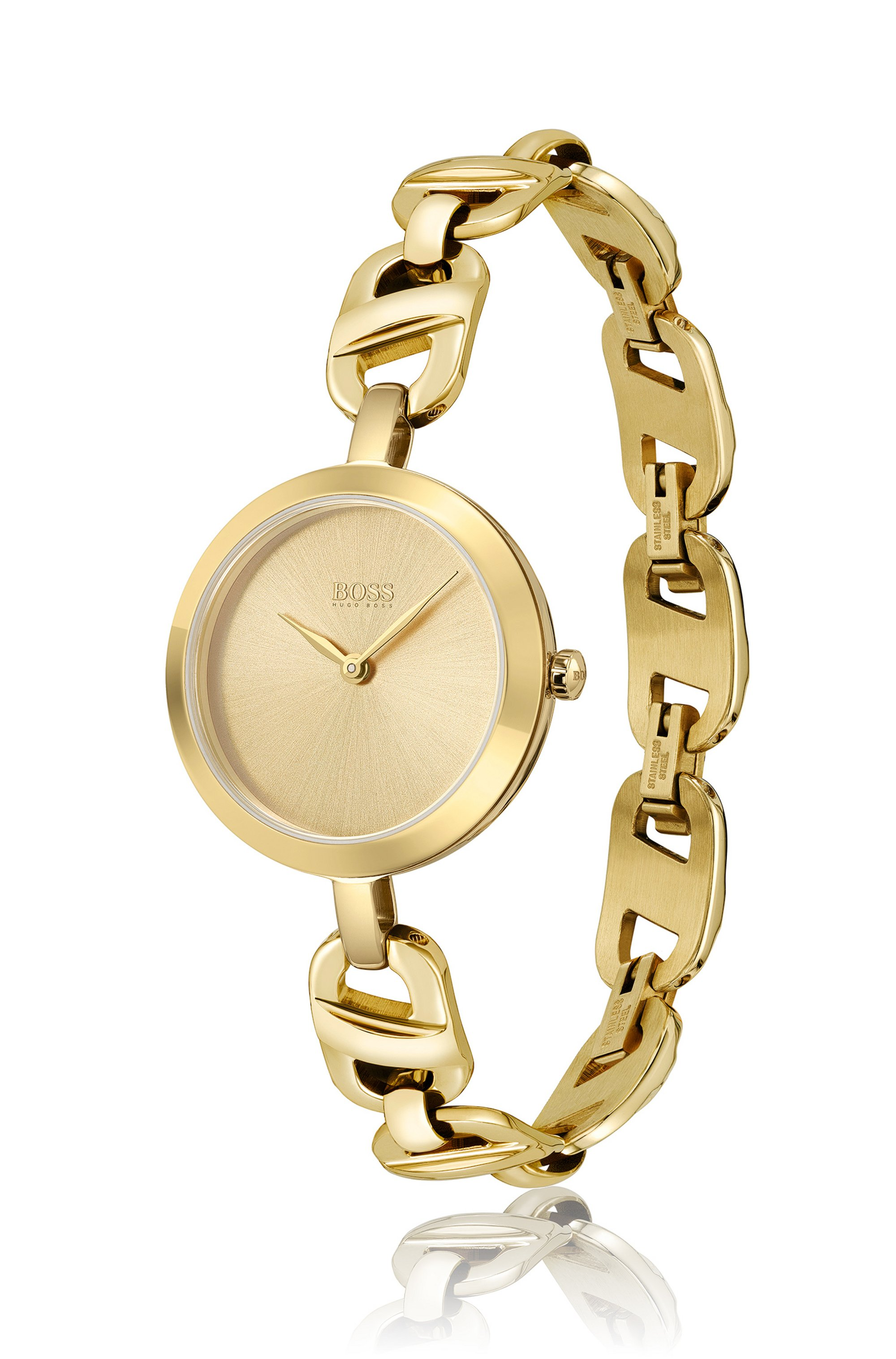 Yellow-gold-effect watch with chain-link bracelet