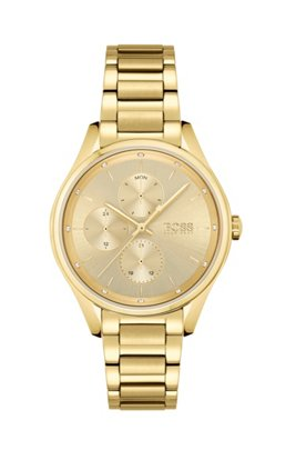 Yellow-gold-effect watch with crystals, Assorted-Pre-Pack