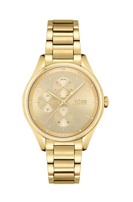 Horloge met geelgoudkleurig effect en kristallen, Assorted-Pre-Pack