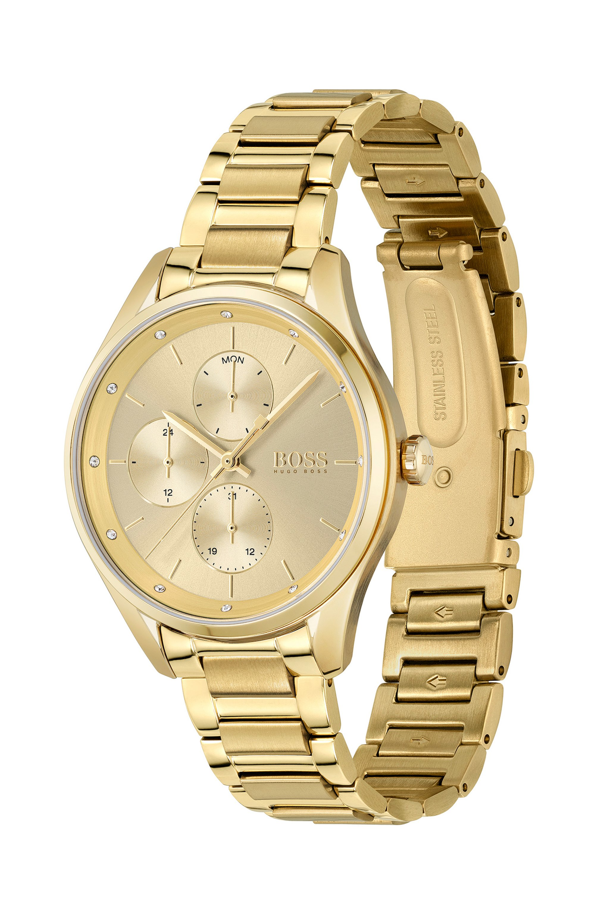 Yellow-gold-effect watch with crystals