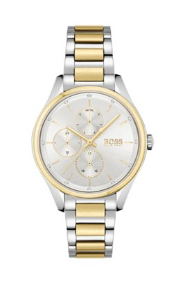 Two-tone watch with crystals and link bracelet, Assorted-Pre-Pack