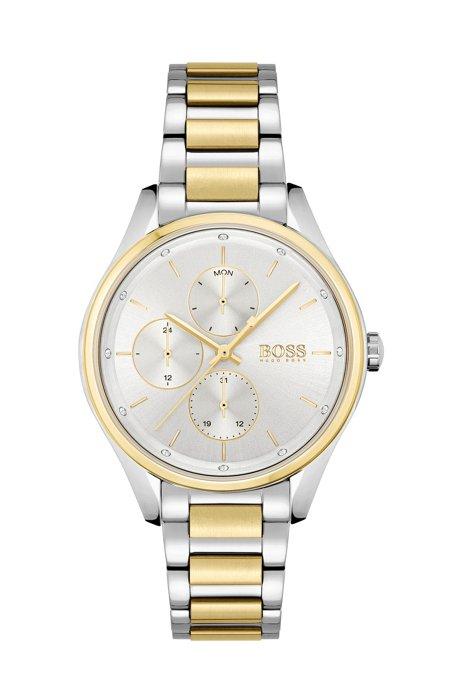 Tweekleurig horloge met kristallen en geschakelde polsband, Assorted-Pre-Pack