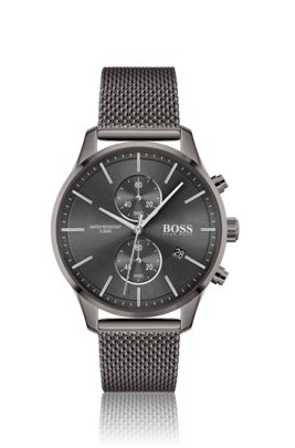 Grey-plated chronograph watch with mesh bracelet, Assorted-Pre-Pack