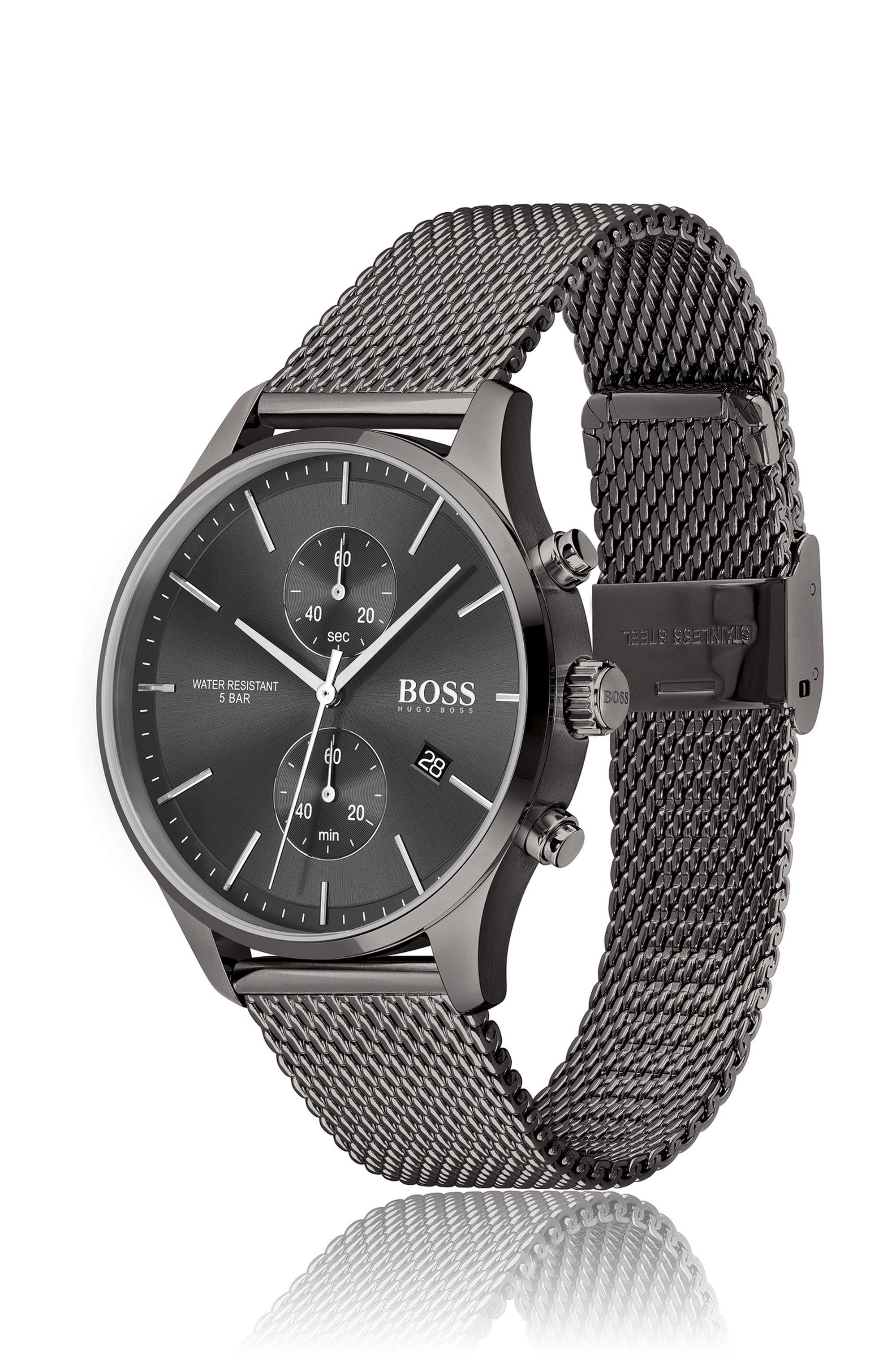 Grey-plated chronograph watch with mesh bracelet