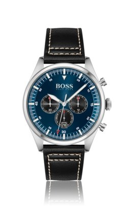 Blue-dial chronograph watch with stitched leather strap, Assorted-Pre-Pack