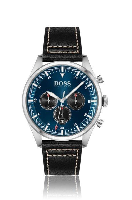 Cronografo con quadrante blu e cinturino in pelle impunturato, Assorted-Pre-Pack