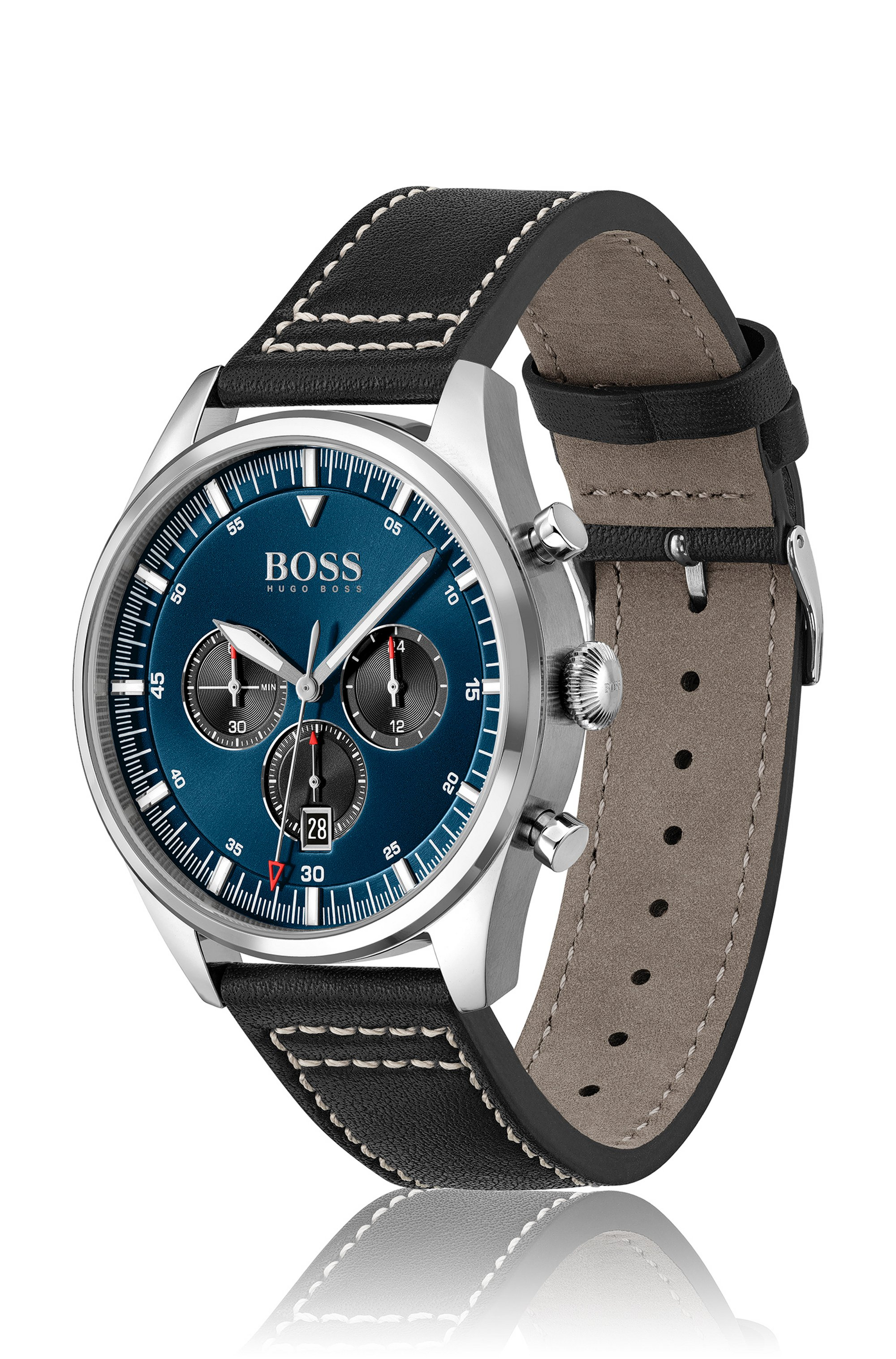 Blue-dial chronograph watch with stitched leather strap
