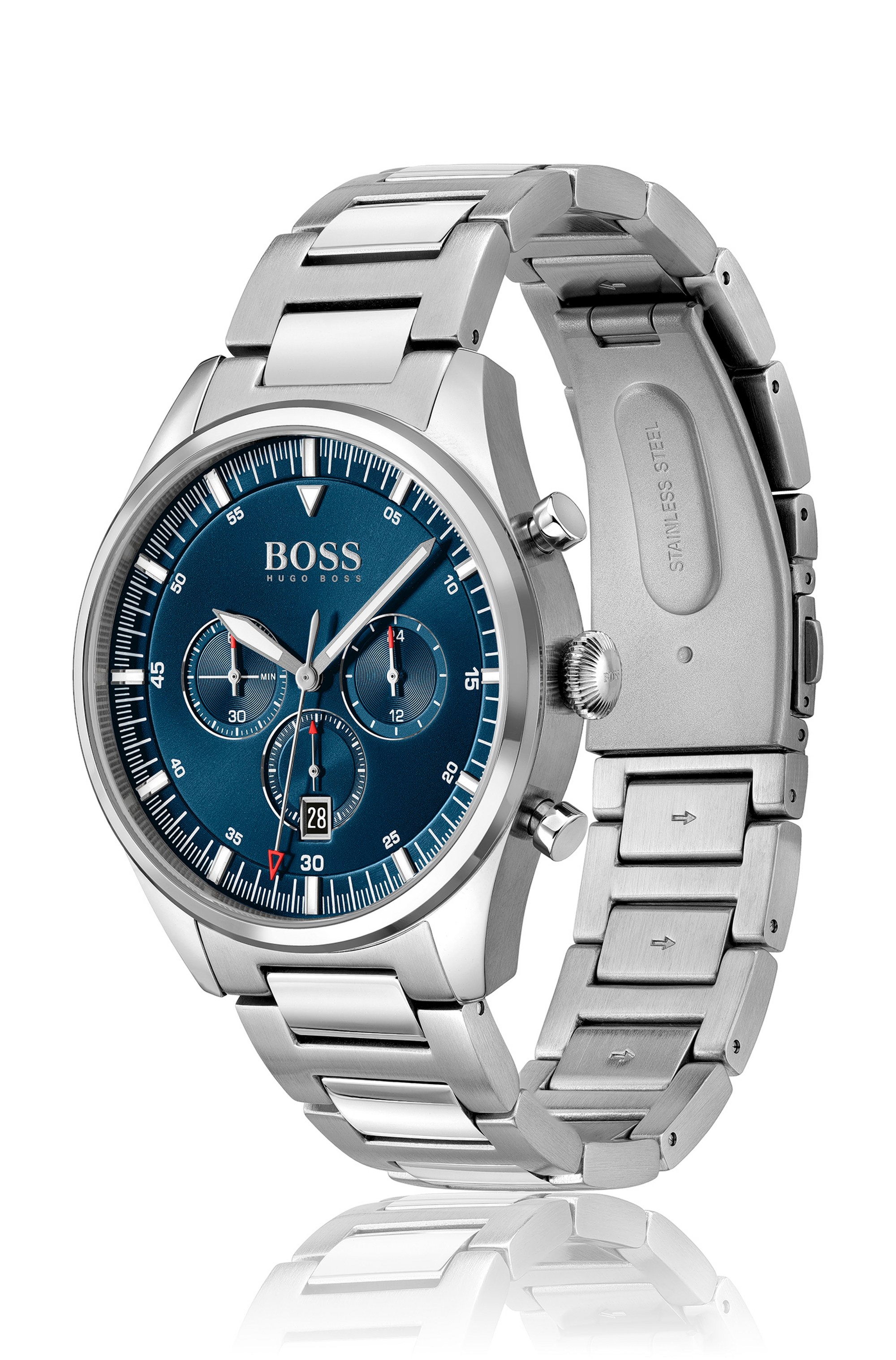 Blue-dial chronograph watch with H-link bracelet