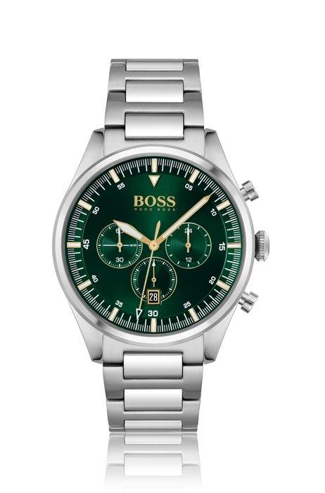 Montre chronographe avec cadran vert et bracelet à maillons en H, Assorted-Pre-Pack