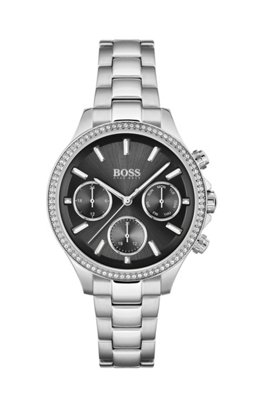 Black-dial watch with crystal-encrusted bezel, Assorted-Pre-Pack