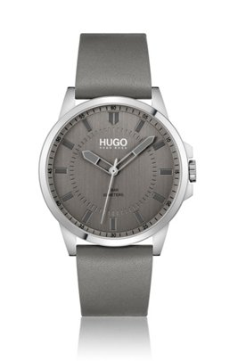 Leather-strap watch with grey dial, Assorted-Pre-Pack