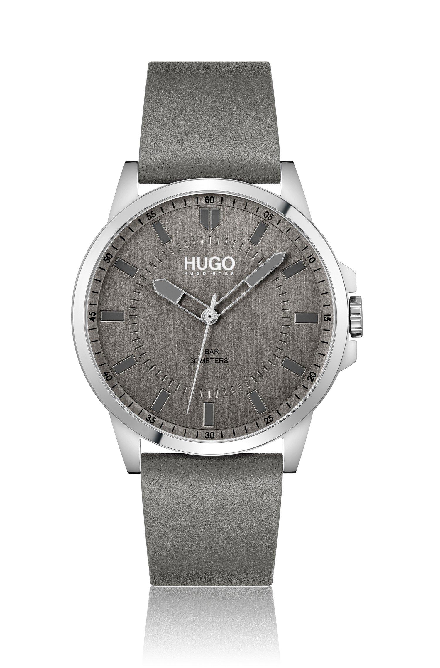 Uhr mit grauem Zifferblatt und Lederarmband, Assorted-Pre-Pack
