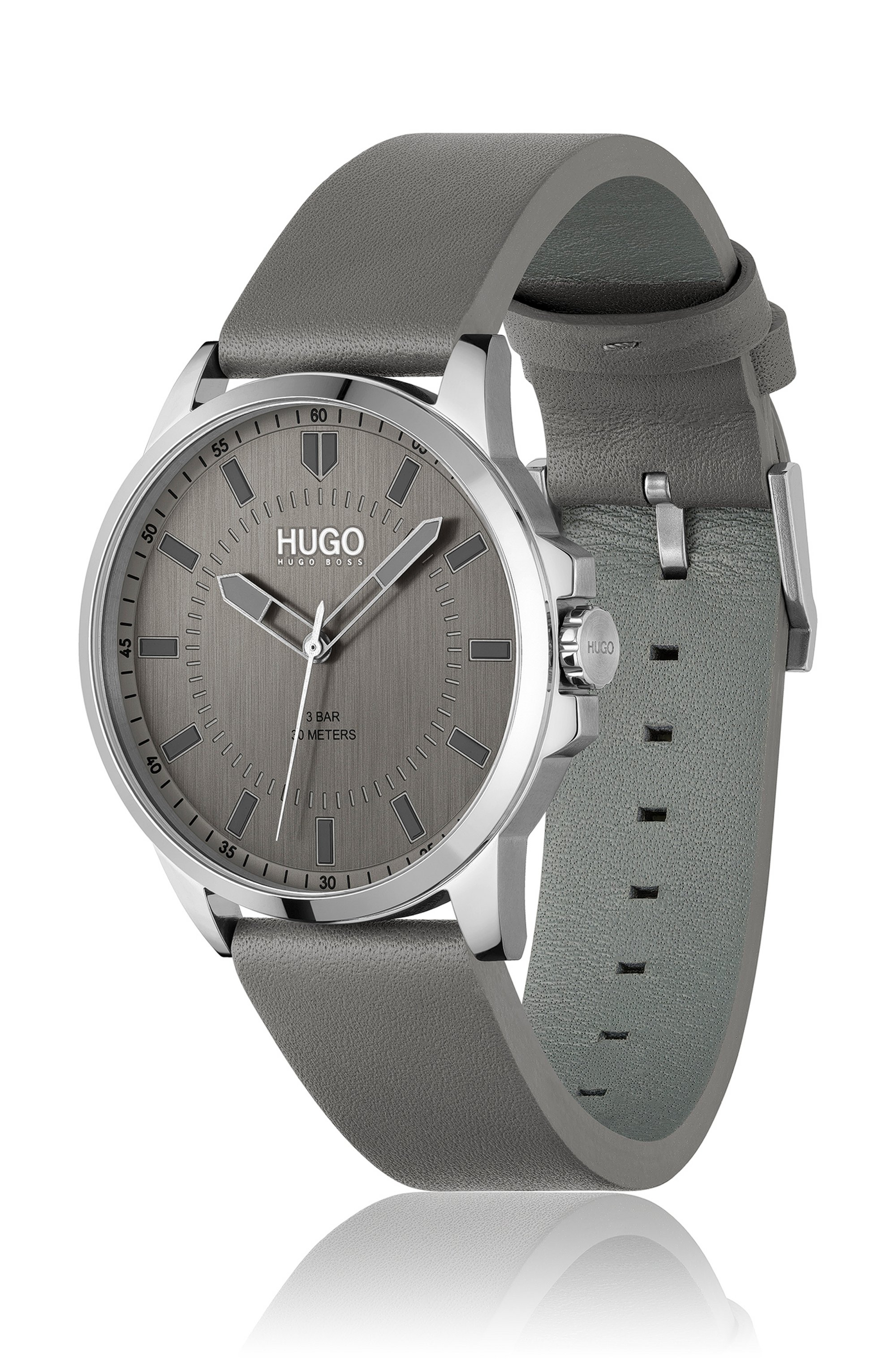Leather-strap watch with grey dial