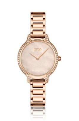 Carnation-gold-effect watch with crystals, Assorted-Pre-Pack