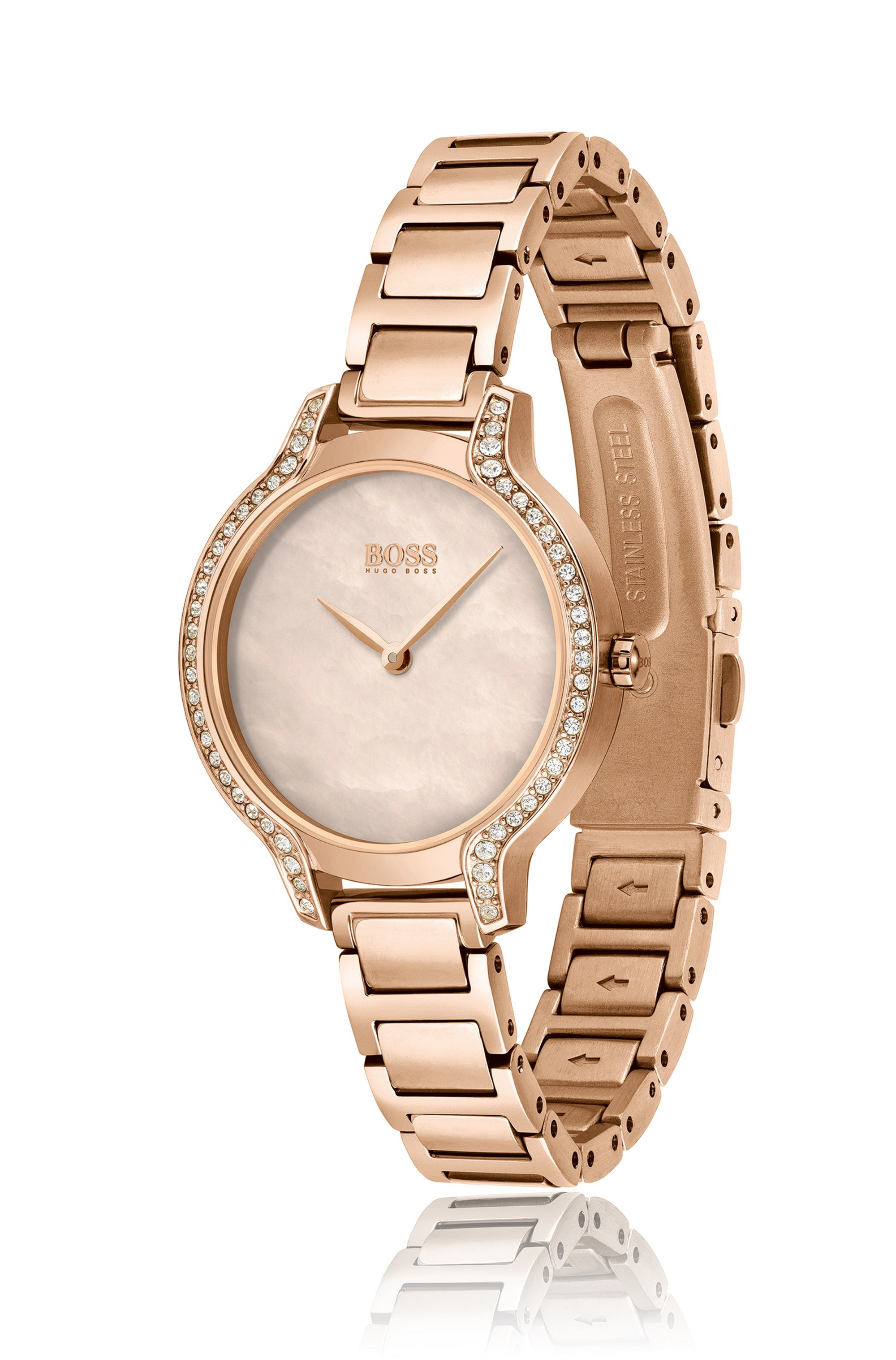 Carnation-gold-effect watch with crystals