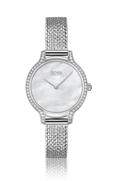 Horloge met kristallen en polsband met geperste meshstructuur, Assorted-Pre-Pack
