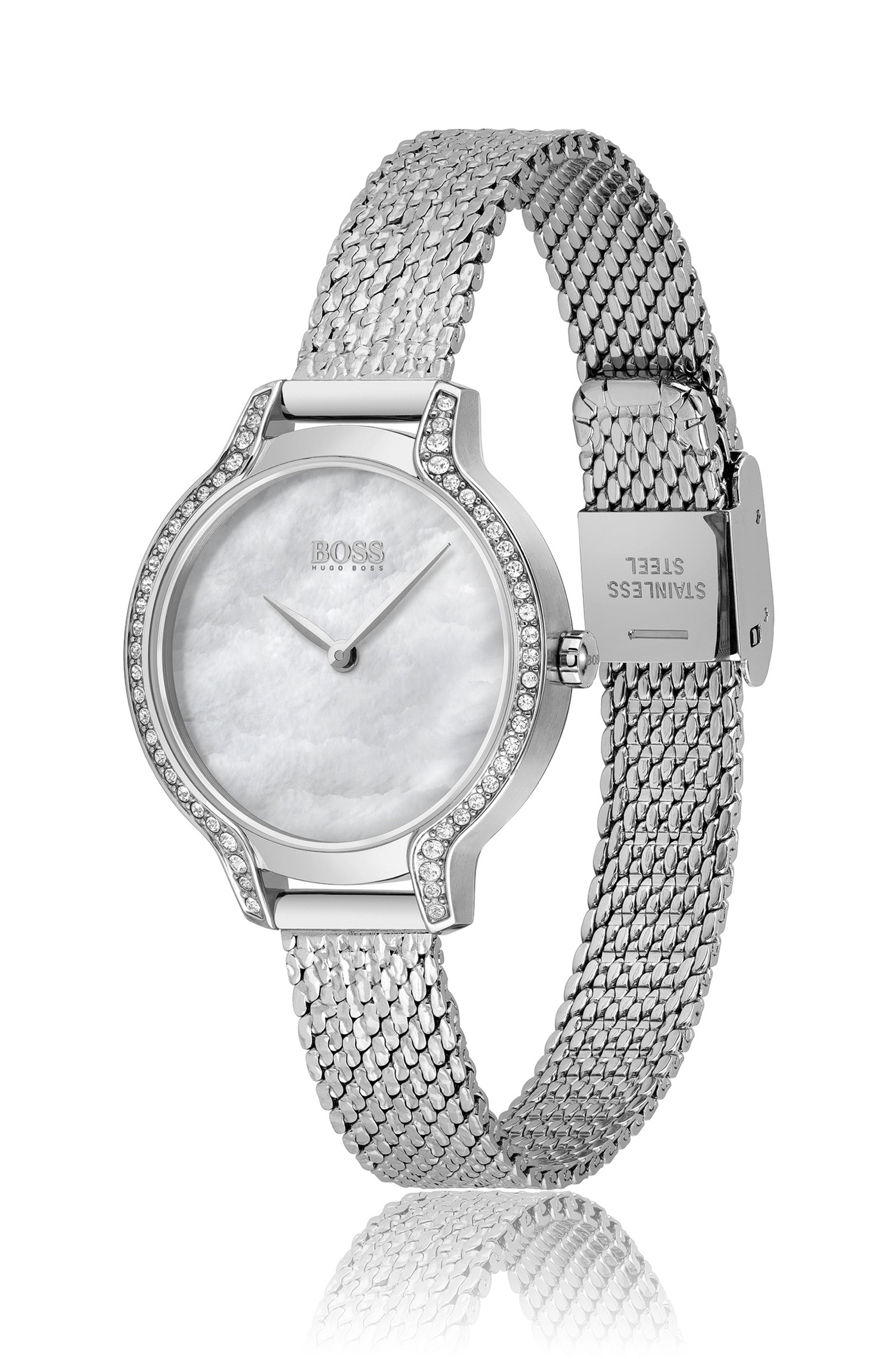 Crystal-studded watch with pressed-mesh bracelet