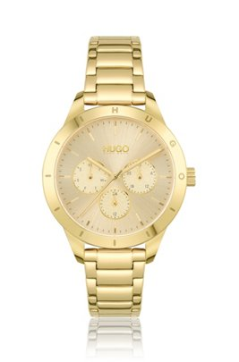 Yellow-gold-effect watch with logo-embossed bezel, Assorted-Pre-Pack