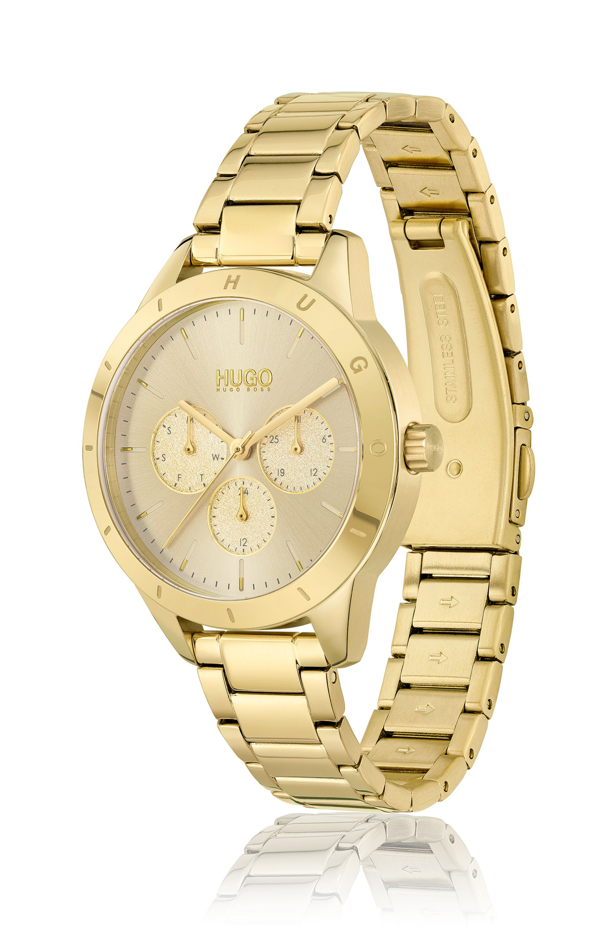 Yellow-gold-effect watch with logo-embossed bezel
