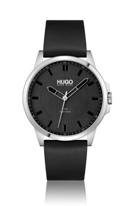 Leather-strap watch with black dial, Assorted-Pre-Pack