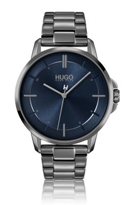Grey-plated watch with brushed blue dial, Assorted-Pre-Pack