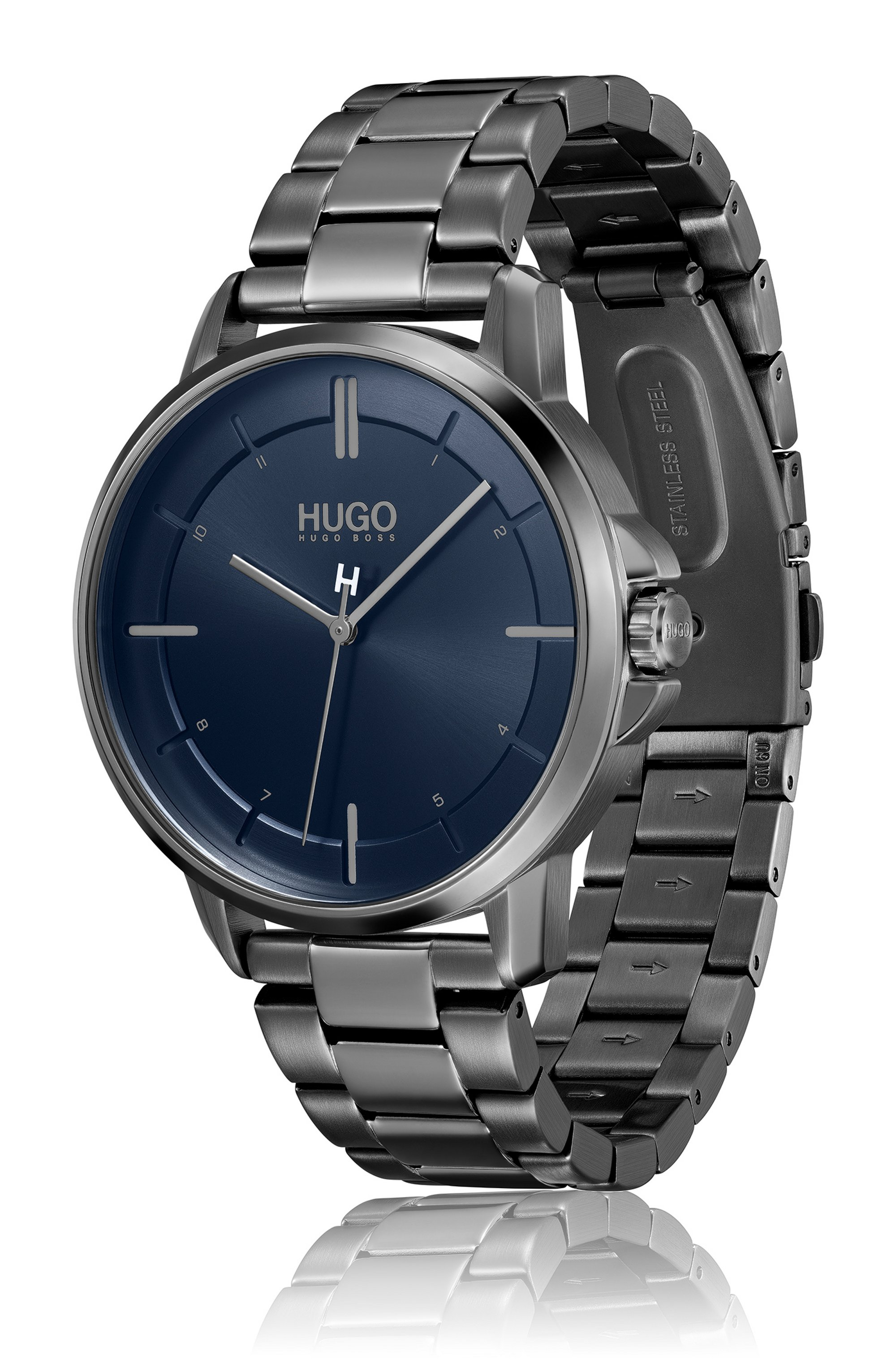 Grey-plated watch with brushed blue dial