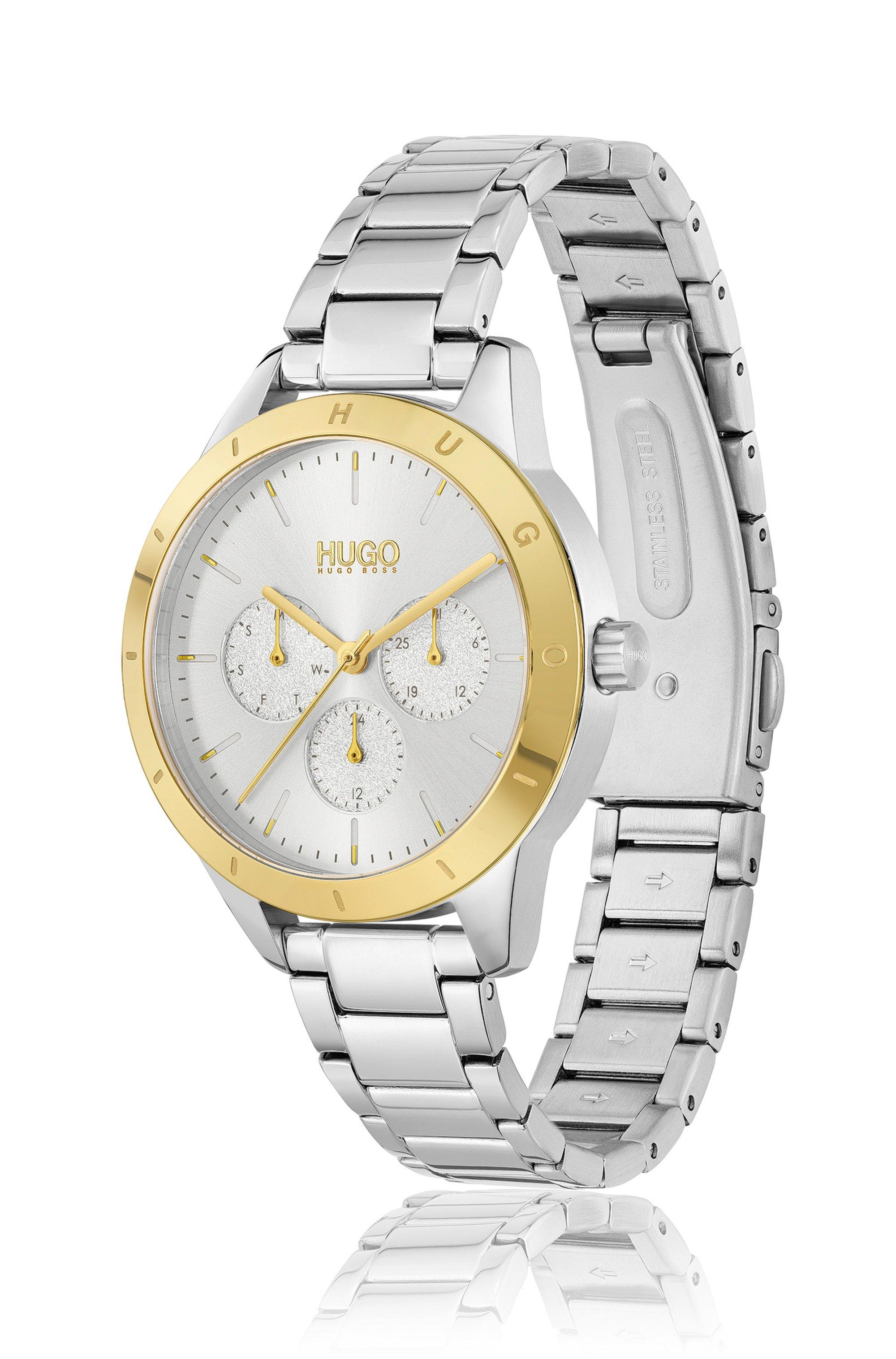Link-bracelet watch with gold-tone logo bezel