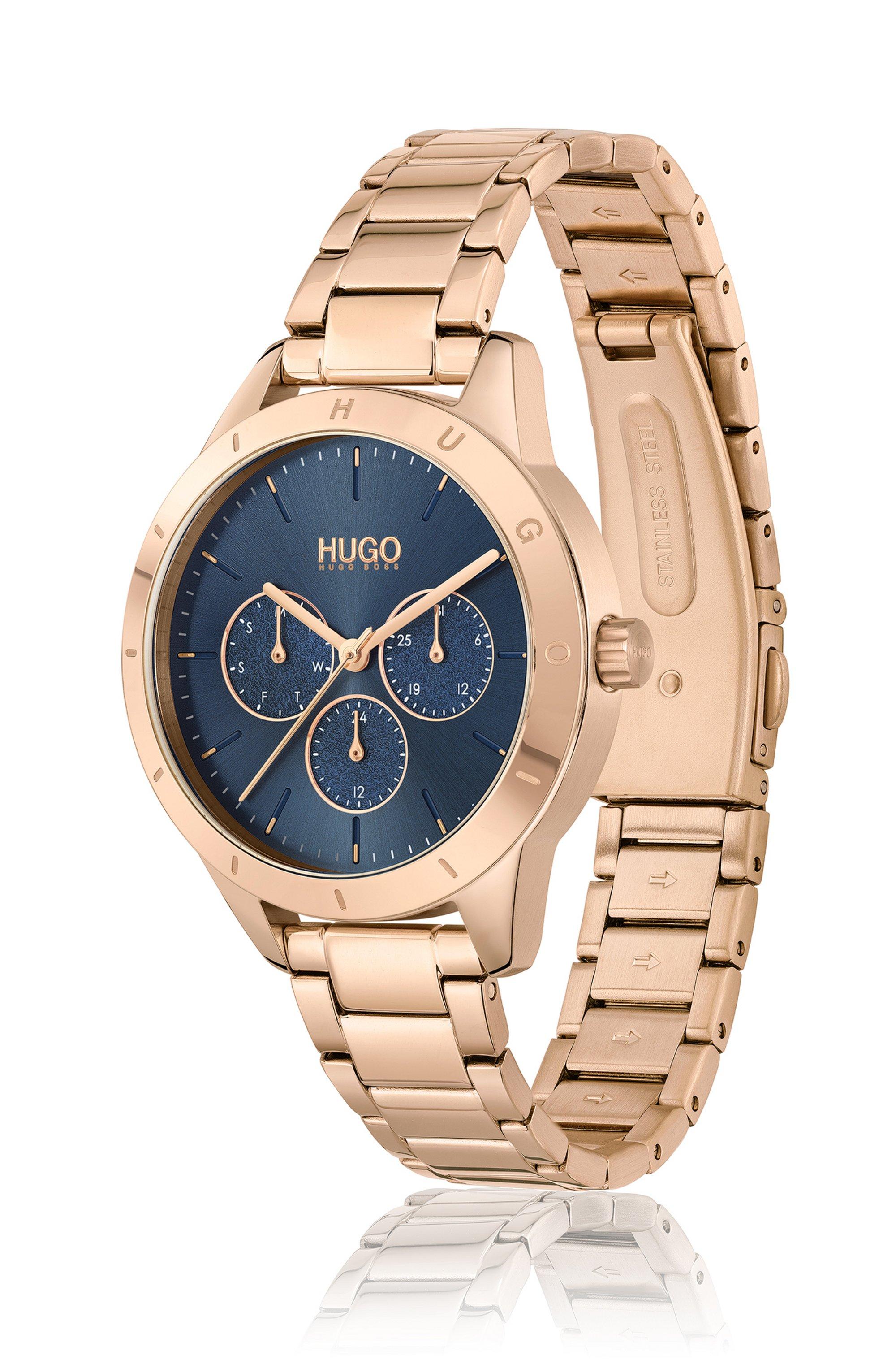 Carnation-gold-effect watch with logo bezel