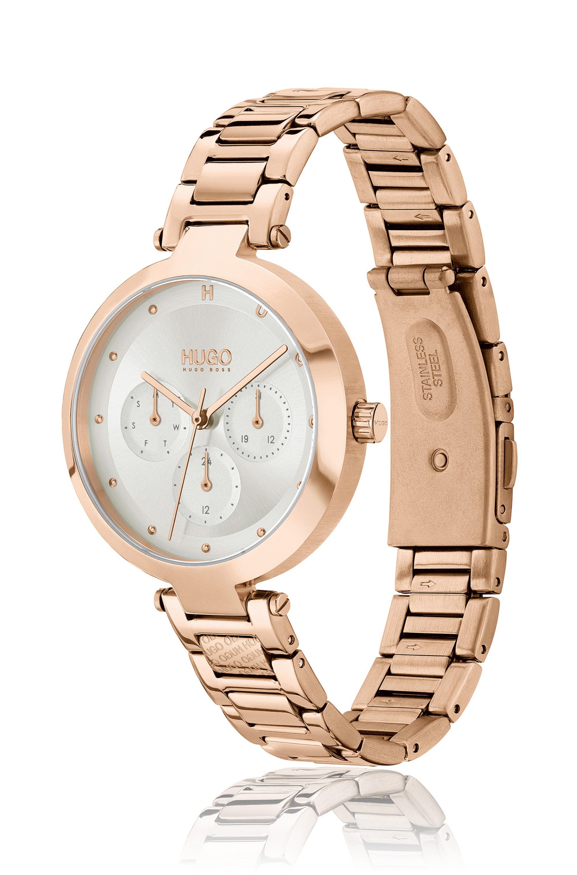 Carnation-gold-effect watch with branded H-link bracelet