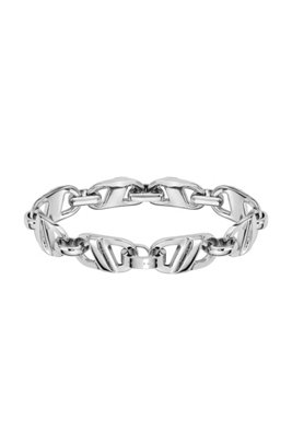 Chain-link bracelet in polished stainless steel, Assorted-Pre-Pack