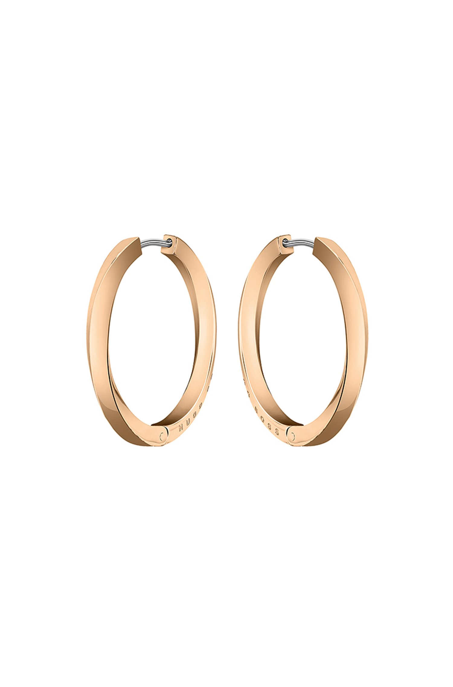 Twisted-bar hoop earrings in a carnation-gold finish, Assorted-Pre-Pack