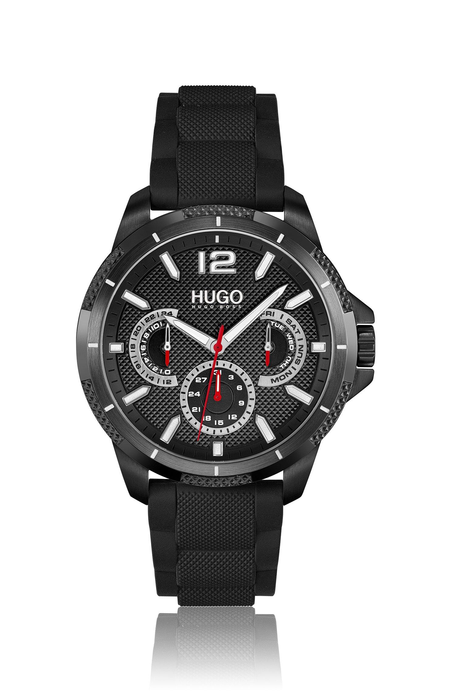 Schwarz beschichtete Uhr mit Totalisatoren und strukturiertem Silikonarmband, Assorted-Pre-Pack