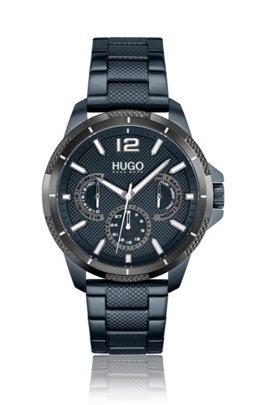 Blau beschichtete Uhr mit tonalem Armband mit Struktur, Assorted-Pre-Pack