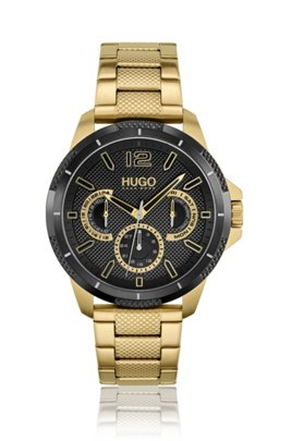Yellow-gold-effect watch with textured black dial, Assorted-Pre-Pack