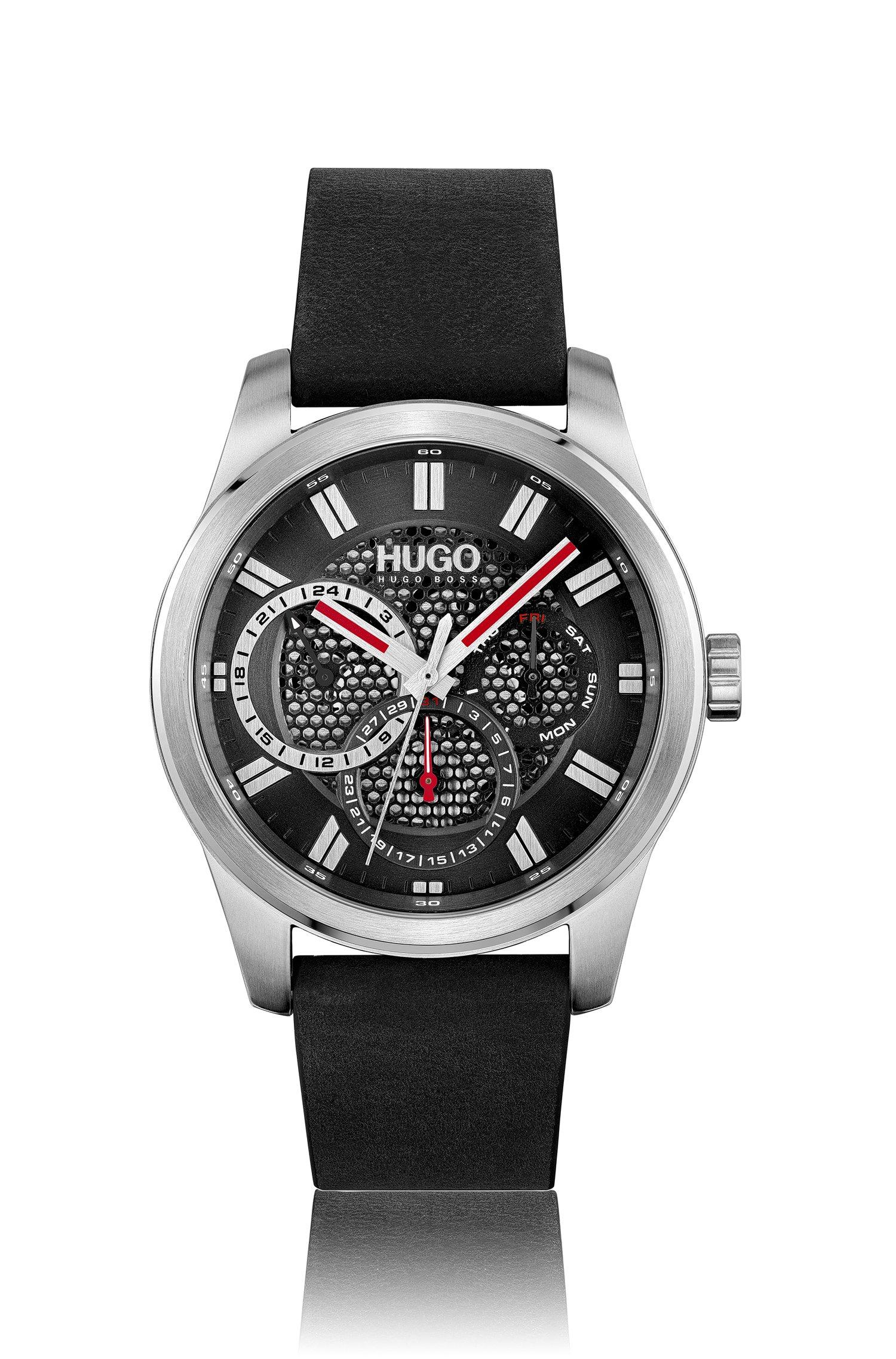 Uhr mit Lederarmband und Zifferblatt in Mesh-Optik, Assorted-Pre-Pack
