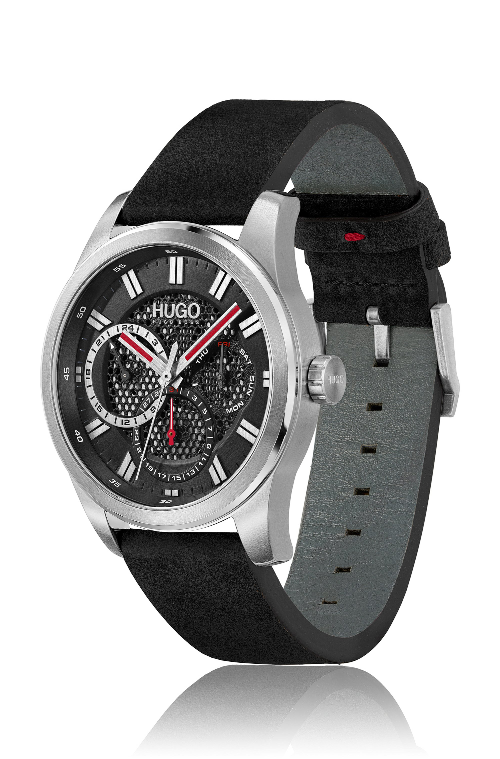 Leather-strap watch with mesh-effect dial