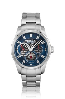 Link-bracelet watch with blue mesh-effect dial, Assorted-Pre-Pack