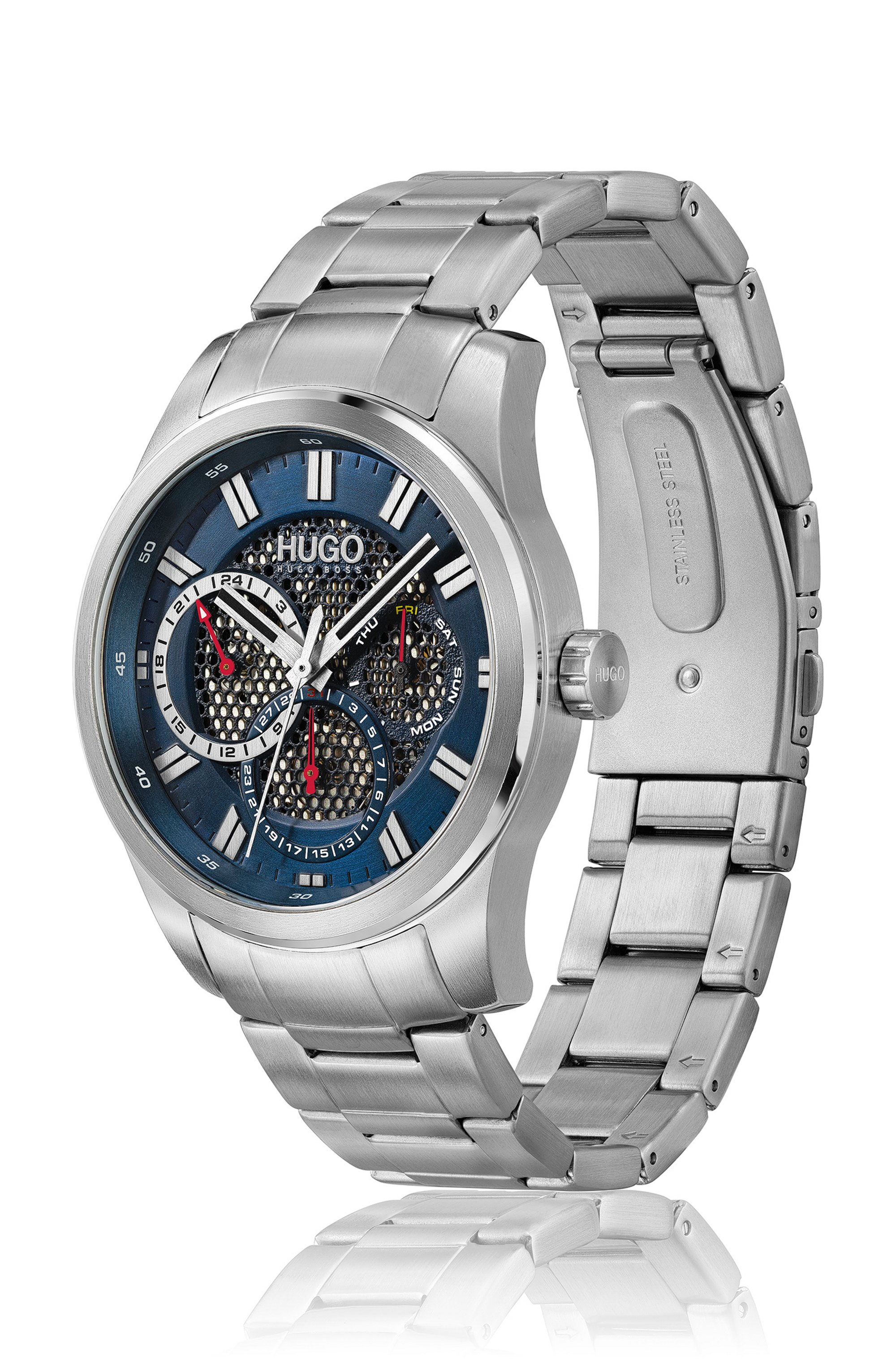 Link-bracelet watch with blue mesh-effect dial