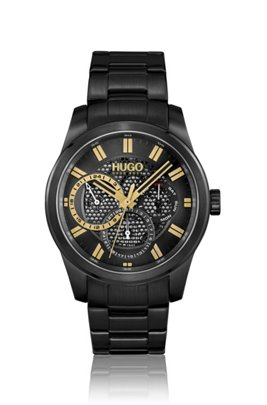 Schwarz beschichtete Uhr mit Zifferblatt in Mesh-Optik, Assorted-Pre-Pack